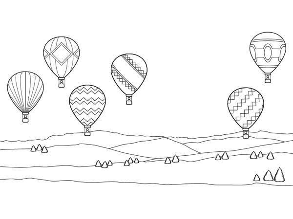 Coloriages transports : les montgolfières | FP | Pinterest