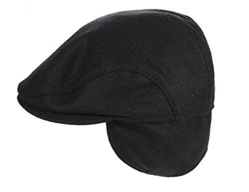cf606e0205155 Great Sale John Hanly Irish Tweed Cap Black Ear Flap Quilted Wool Made in  Ireland Large