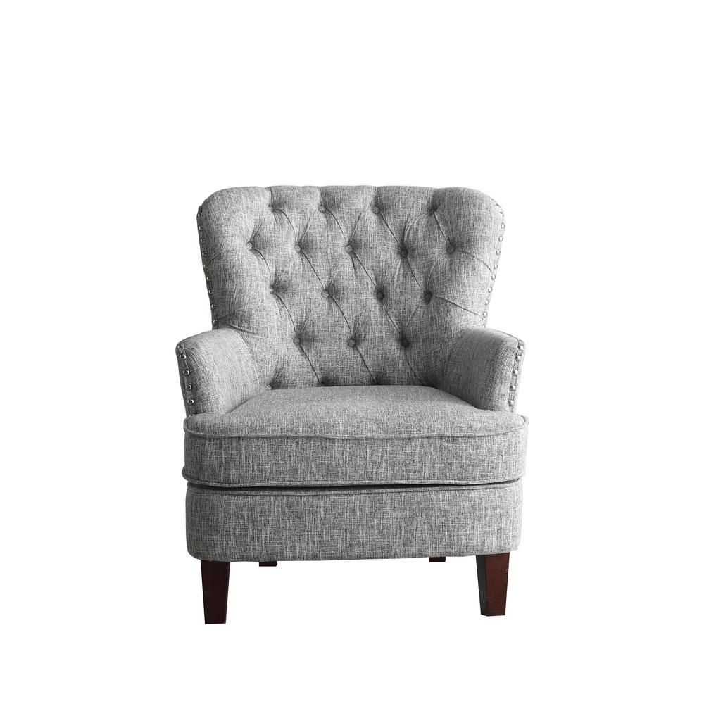 Gray White Color Button Tufted Accent Chair With Nailhead 92005