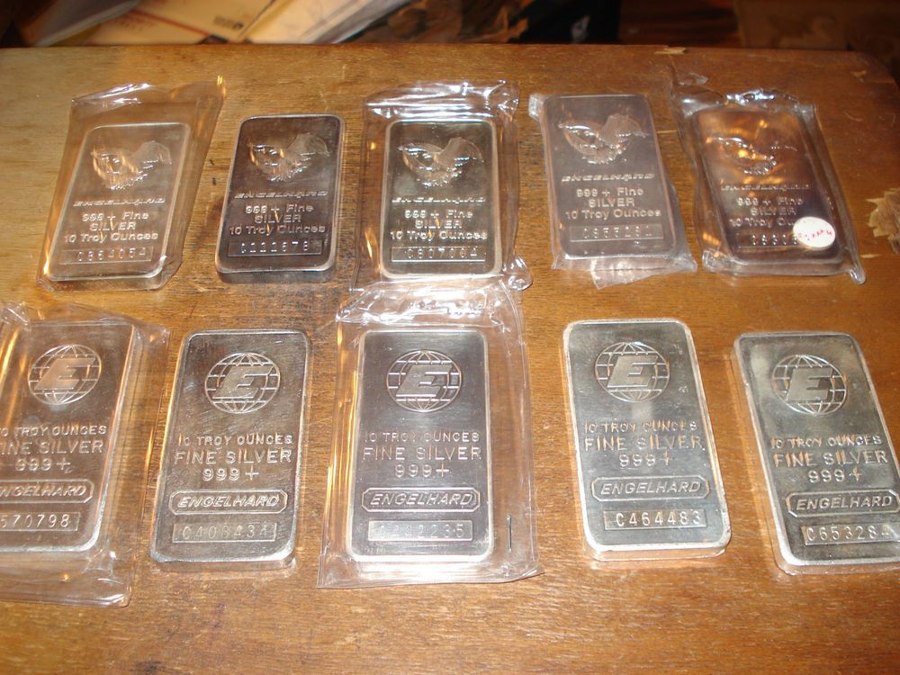 100 Ozs Of 10oz Engelhard Silver Bars 10 Ounce Per Bar 100 Oz Total Silver Bars Silver Bullion Silver