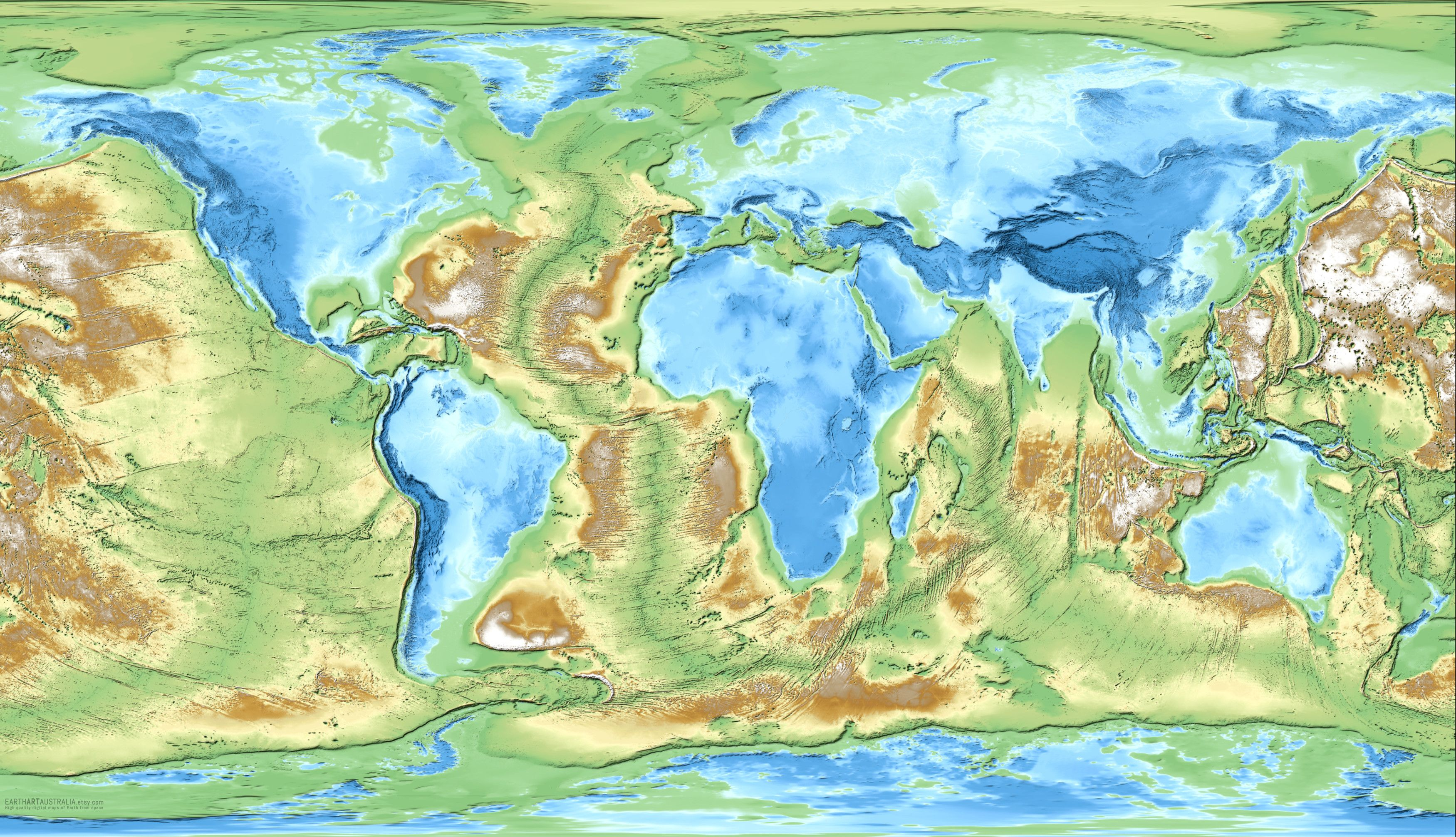 Inverted Earth The World Mapped By Inverted Elevation And - World map by elevation