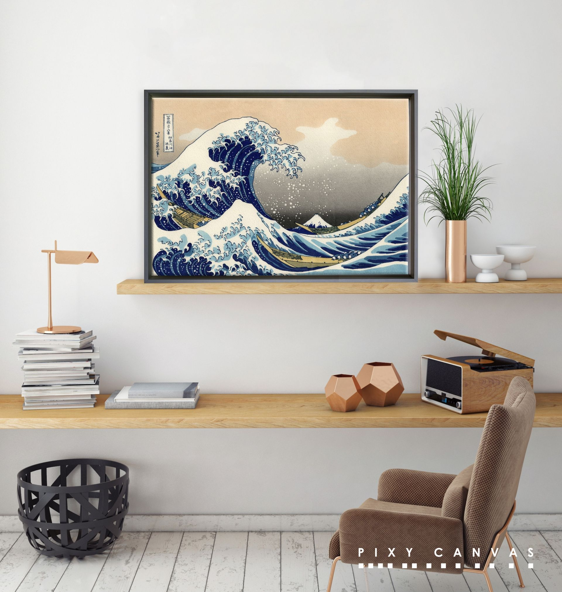 Classical Canvas Prints The Great Wave Off Kanagawa Pixy Canvas Wall Stickers Living Room Paint Colors For Living Room Living Room Paint