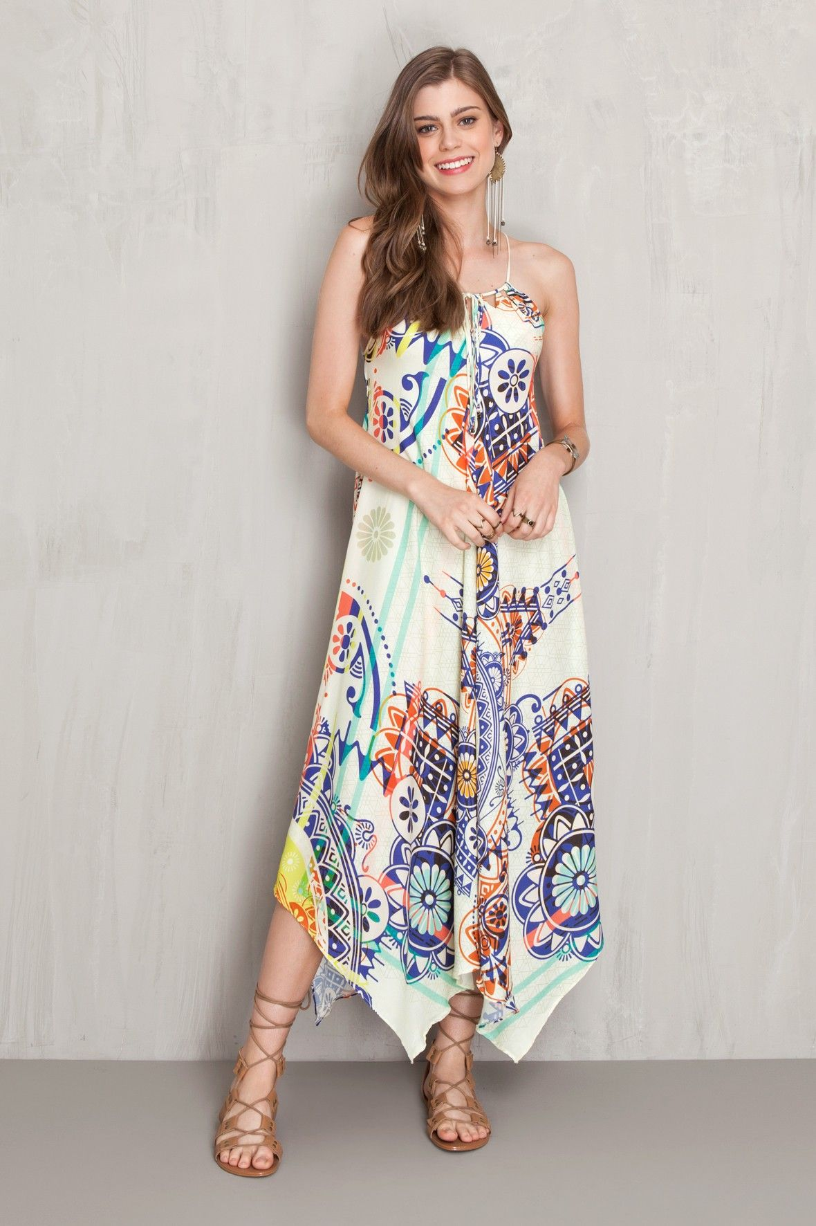 62d866e6f290 Vestido bicos estampado solar | Dress to | So Many Maxi's so Little ...