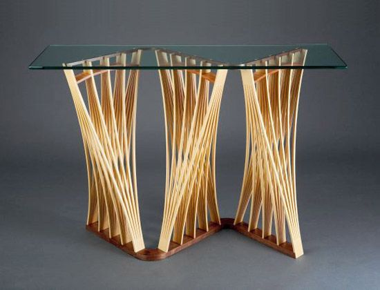 Funky Hall Tables parabola hall table: seth rolland: wood & glass hall table