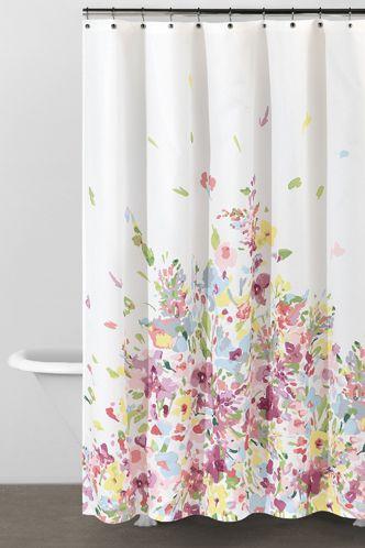 DKNY Watercolor Bouquet Shower Curtain Salle De Bain Idee Deco Rideaux Douche A