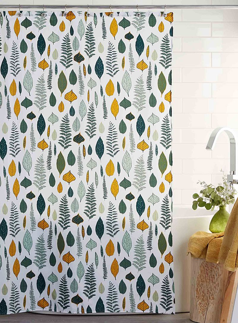 Fall Leaves Shower Curtain Green Shower Curtains Fabric Shower Curtains Yellow Shower Curtains