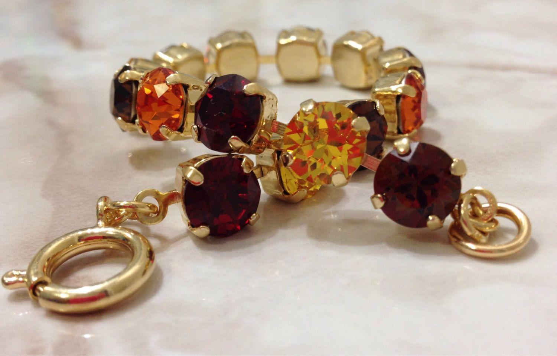 A Local Customer Favorite- Fall Leaves Swarovski 8mm Bracelet in Gold  by SparklingTemptations on Etsy