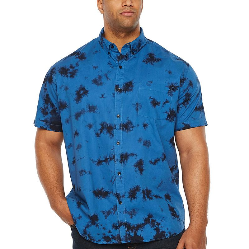 860157fa17ac The Foundry Big & Tall Supply Co. Mens Short Sleeve Tie Dye Button-Front Shirt  Big and Tall
