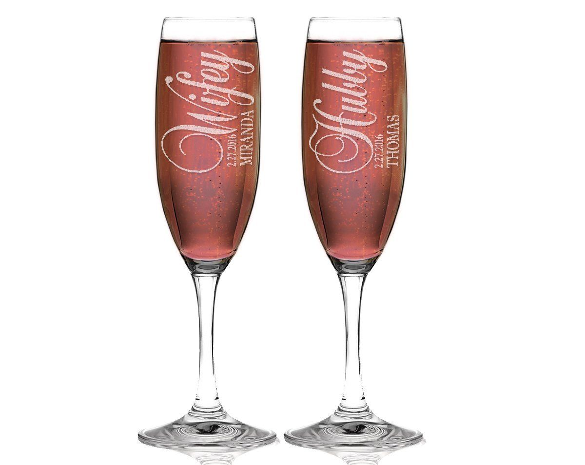Hubby and wifey set of 2 champagne flutes