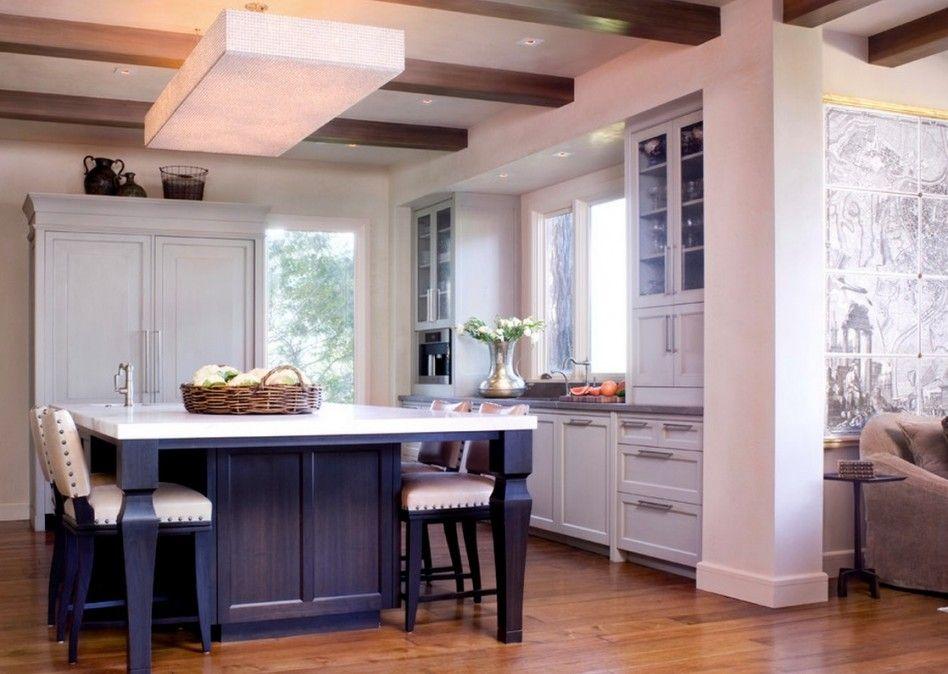 Kitchen, : Gorgeous Kitchen Dining Decoration Using White And Black Kitchen Island With Seating Along With Black Wood Sheraton Kitchen Islan...