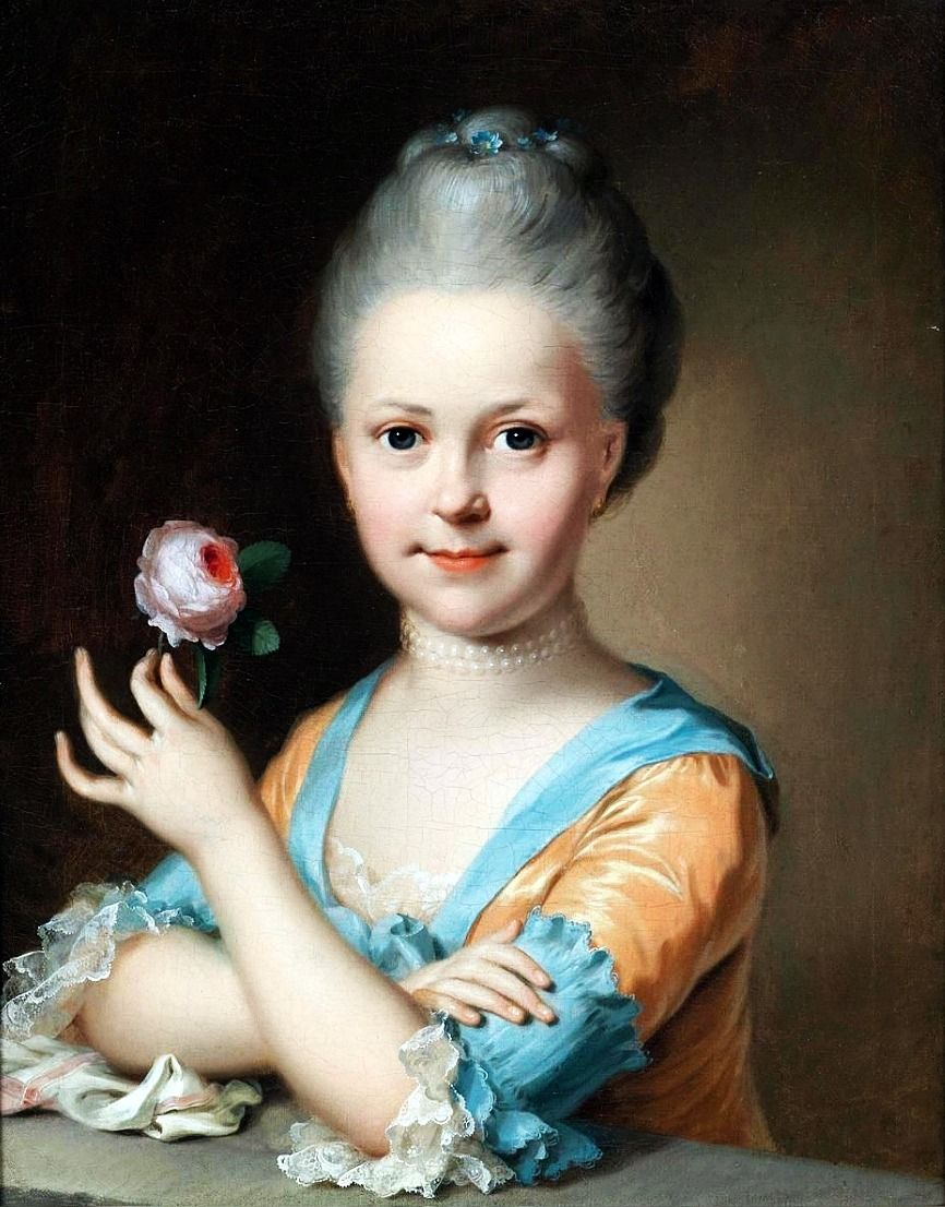 14415687a33 Johann Heinrich Tischbein the Elder (1722-1789)  Portrait of a young girl  with a rose