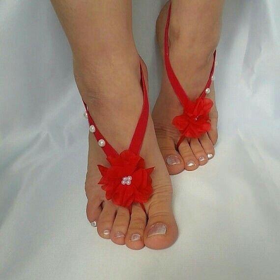 424613301cc284 red  flower  ivory  pearls  beach  wedding  barefoot  sandals  feet ...