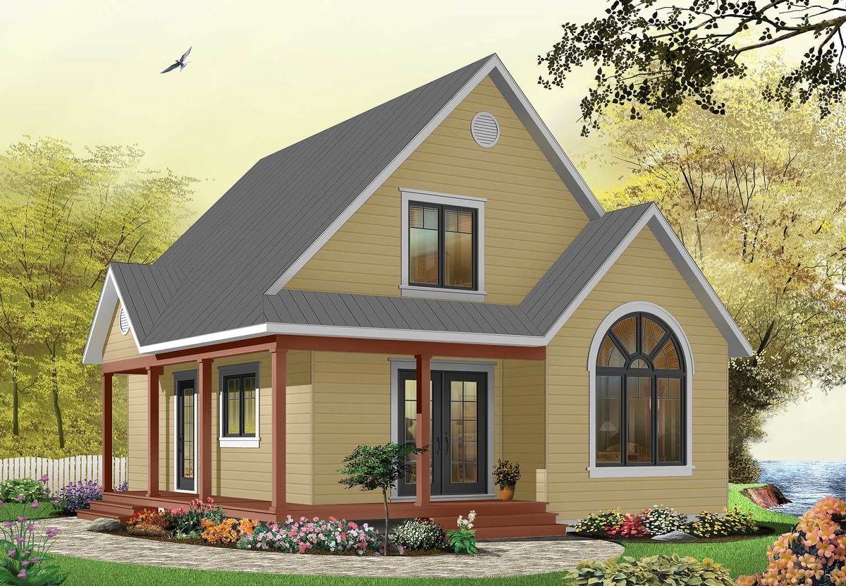 Plan 21492dr Country Cottage With Wrap Around Porch Country Cottage House Plans Drummond House Plans Cottage House Plans