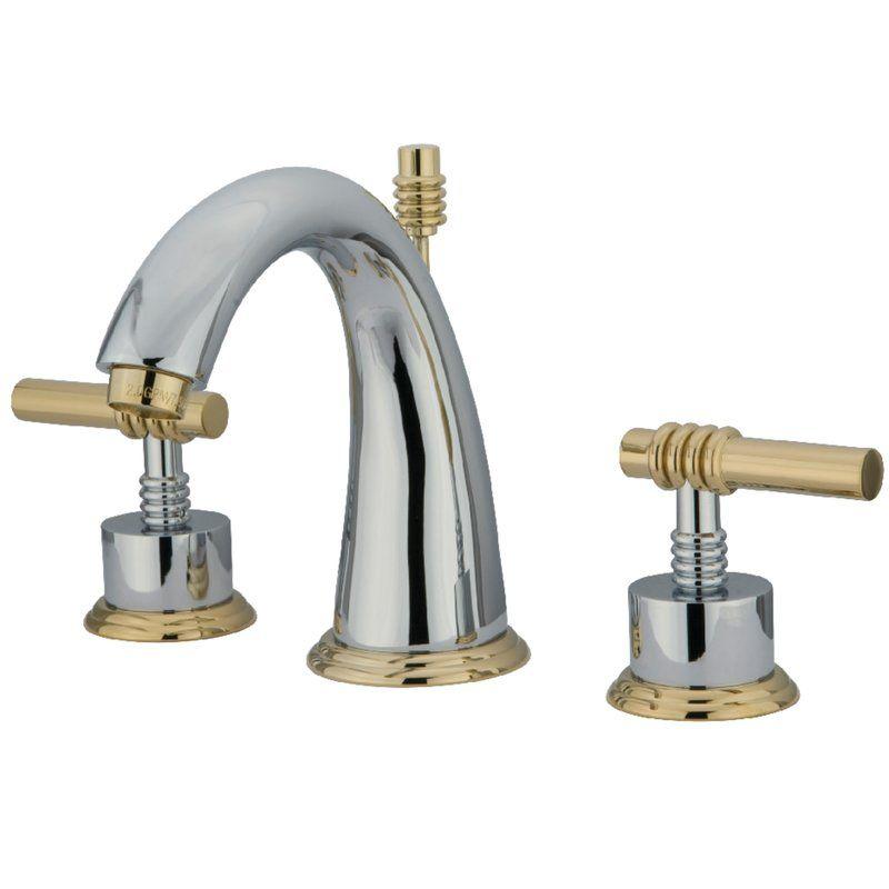 Milano Widespread Bathroom Sink Faucet With Brass Pop Up Brass Bathroom Faucets Bathroom Sink Faucets Widespread Bathroom Faucet