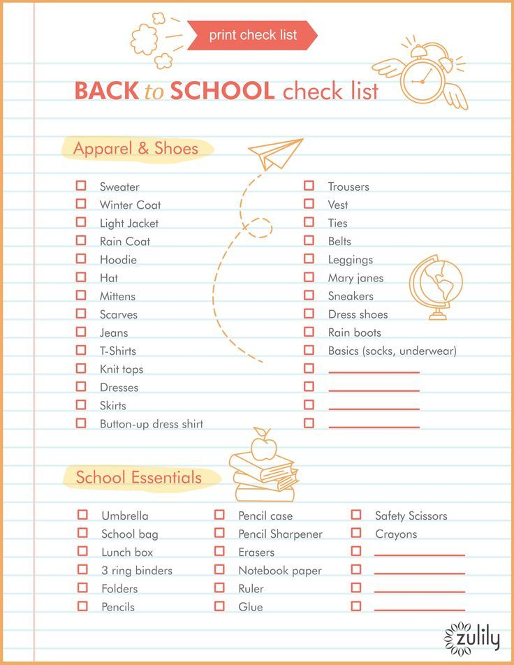 Back To School Supplies Handy Checklist  School Checklist