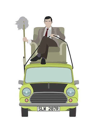 Mr Bean Riding Atop His Mini Cooper Millions Of Unique Designs By Independent Artists Find Your Thing Mr Bean Mr Bean Cartoon Animated Love Images