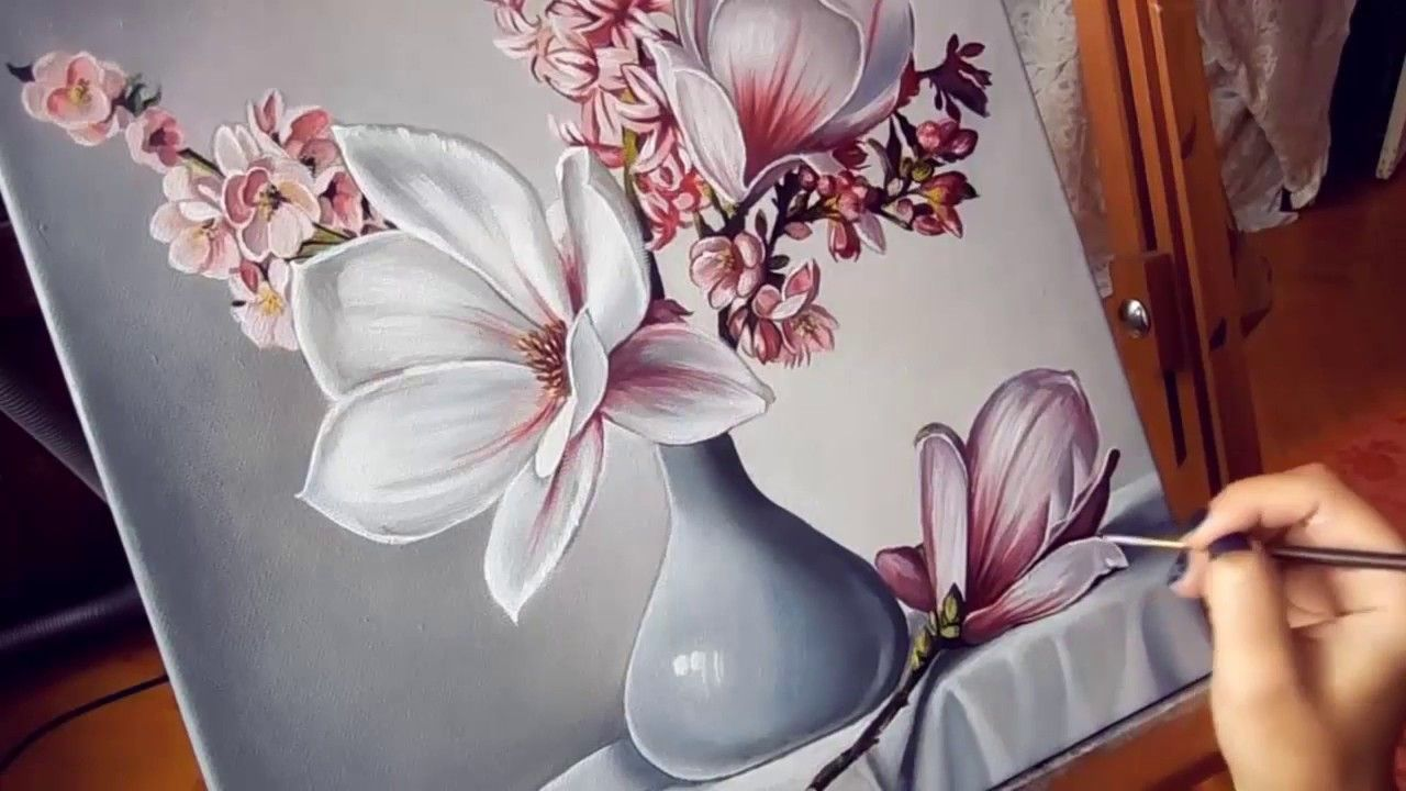 Blumen Malen Mit Acrylfarben Fur Anfanger Fortgeschrittene