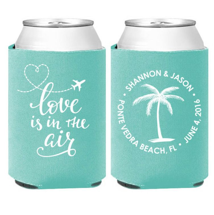 Personalized Wedding Koozies Love Is In The Air Destination Wedding Can Coolers Unbranded Wedding Koozies Personalized Wedding Favors Koozie Wedding Favors