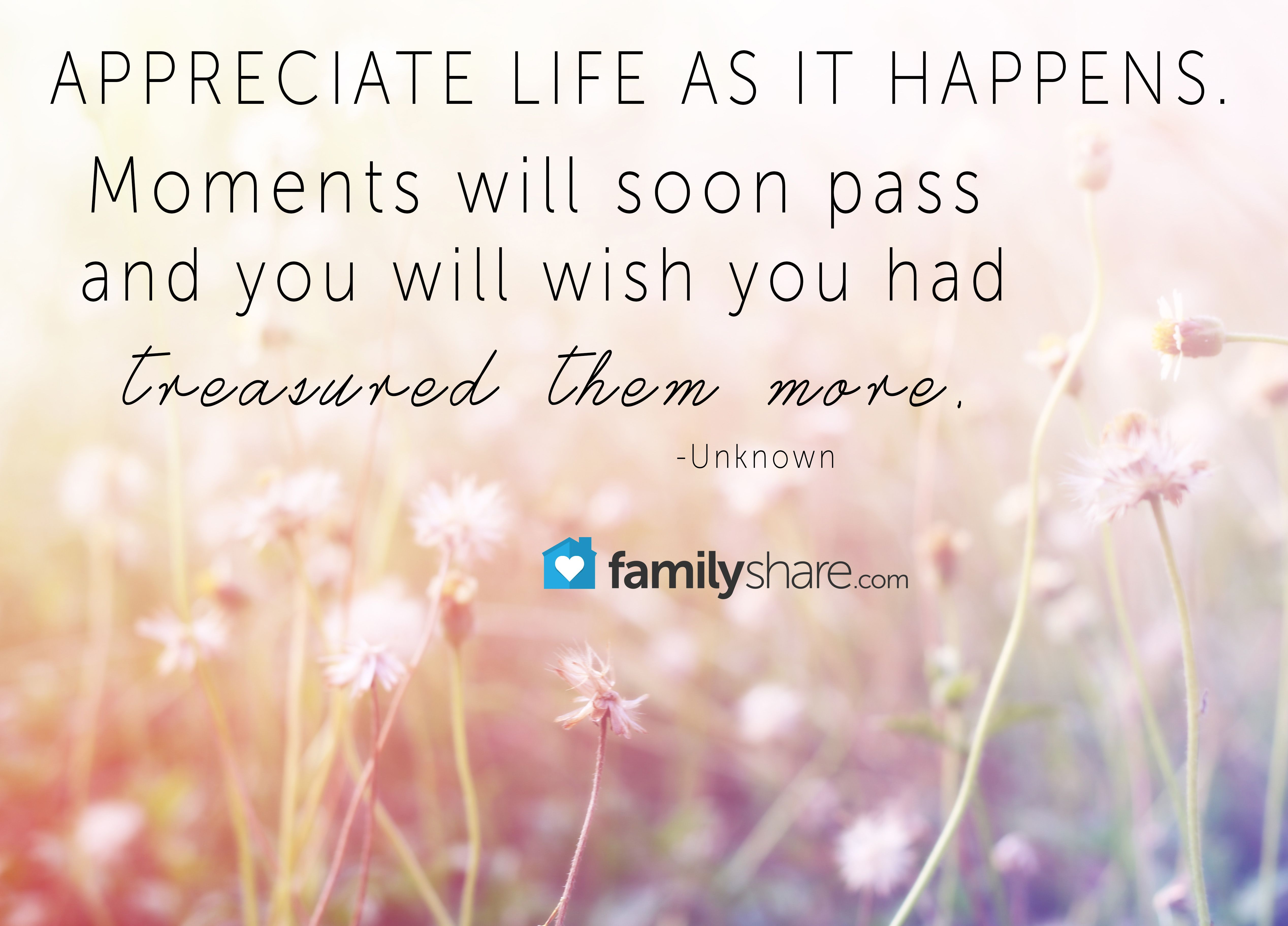 """""""Appreciate life as it happens. Moments will soon pass and"""