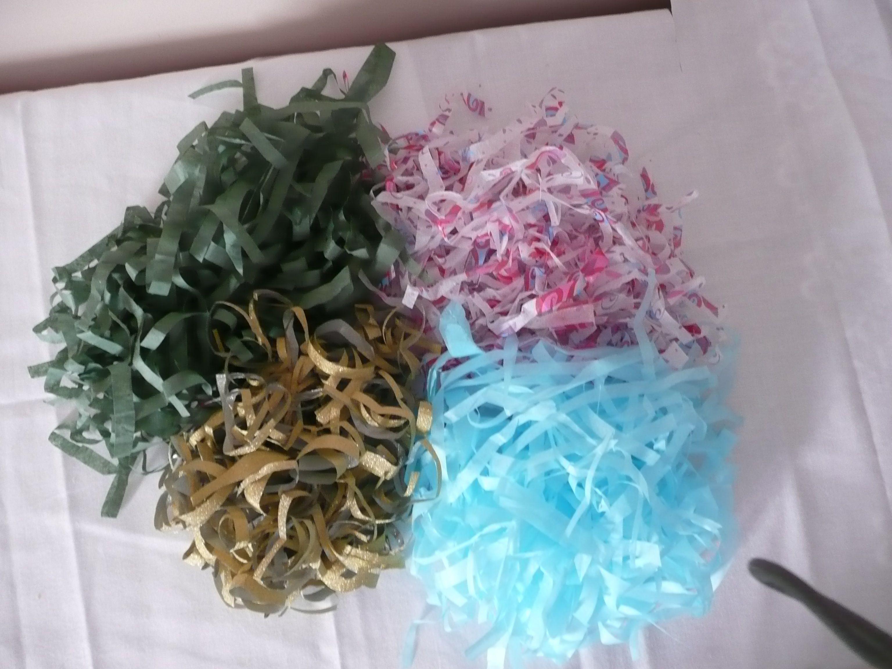 Making shredded tissue paper as gift basket fillers run