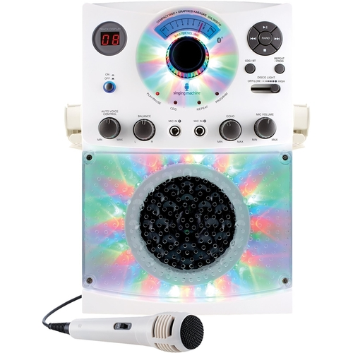 Singing Machine - CD+G Bluetooth Karaoke System - White