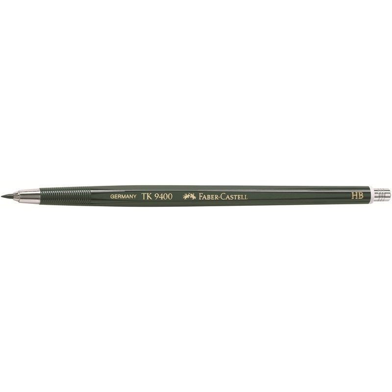 """Clutch pencil TK 9400 2mm HB The classic, reliable and familiar """"TK Pencil"""" for artists and technicians from Faber-Castell: the TK Clutch Pencil 9400. Equipped with ergonomic finger grooves. The powerful jaws grip the lead firmly. The TK 9400 clutch pencil has a slender and even shaft with its balance point oriented towards the tip. Available in 14 grades of hardness. Lead diameter: 6B to 3B and 4B in 3.15 mm to 2 mm in 6H."""