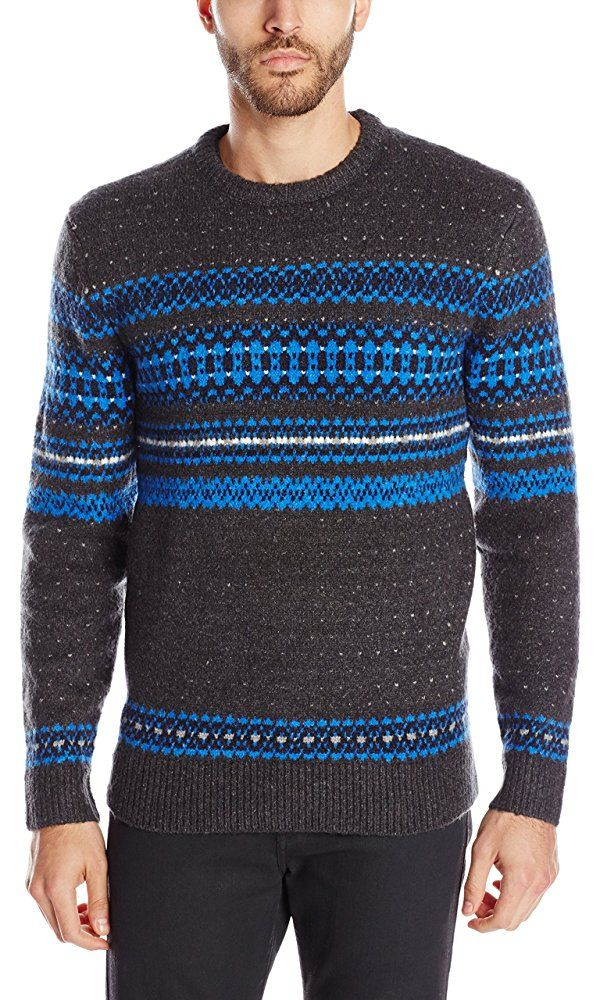 French Connection Men's Feltet Fair Isle Knit Sweater, Charcoal ...