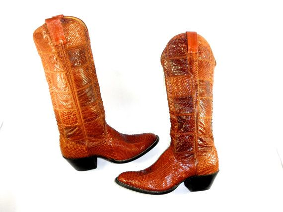 Vintage Nacona Brown Python Cowgirl Boots by PacificWonderland, $200.00
