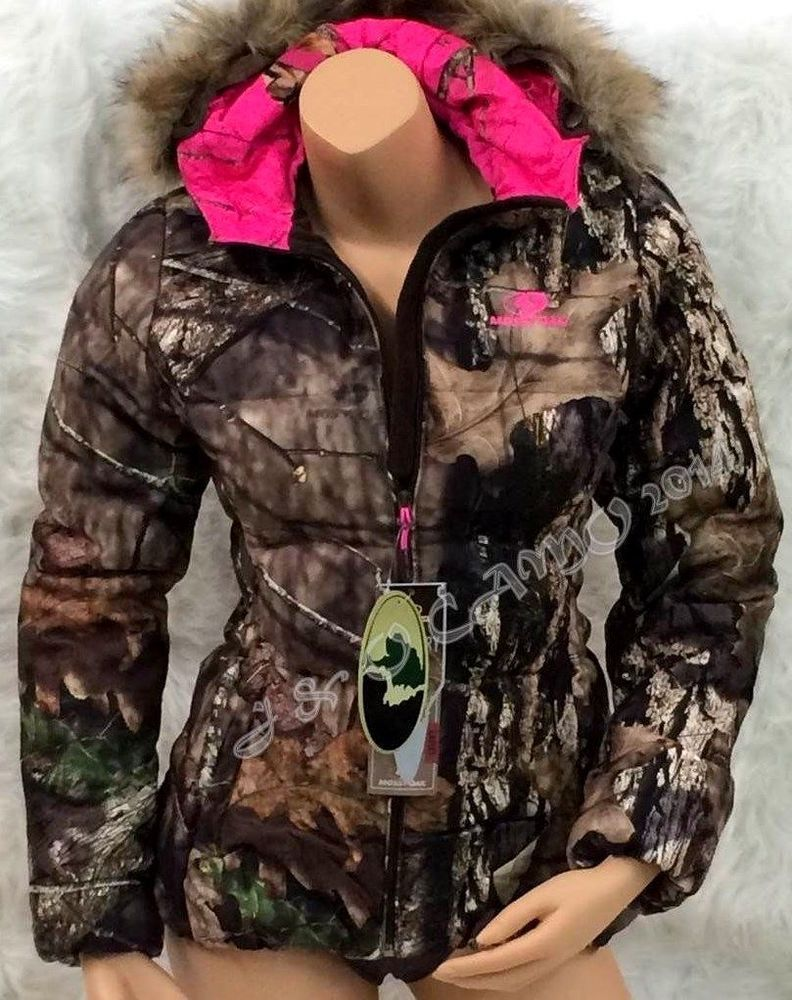 6e1c9d53b56 NEW Mossy Oak Womens HOT PINK Camo Fur Hood Insulated Bubble Jacket S M L  XL 2XL  MossyOak  Puffer