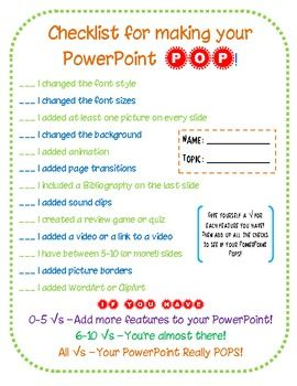 Make Your Powerpoint Pop Checklist For Students Teaching Inspiration Create Powerpoint Presentation Techie Teacher