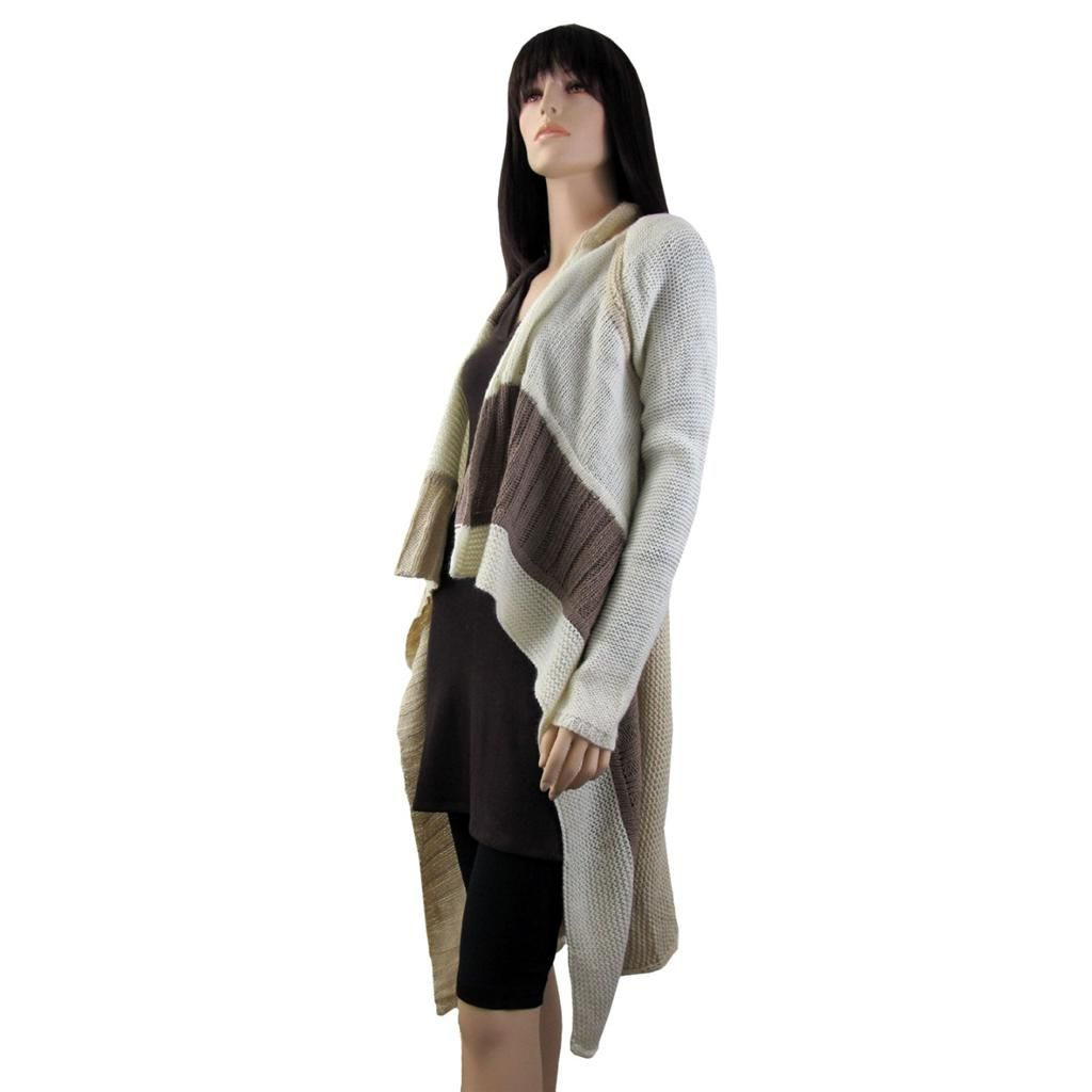 Long Cardigan Open Knit Sweater Jacket Coat Off White Tan & Light ...