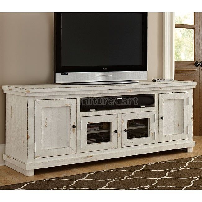 Willow 74 Inch Entertainment Console Distressed White