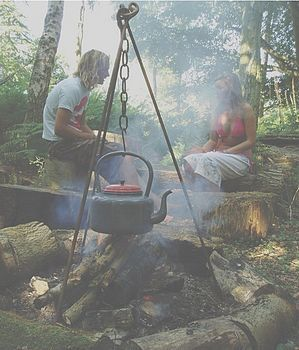 Campfire cooking tripod.
