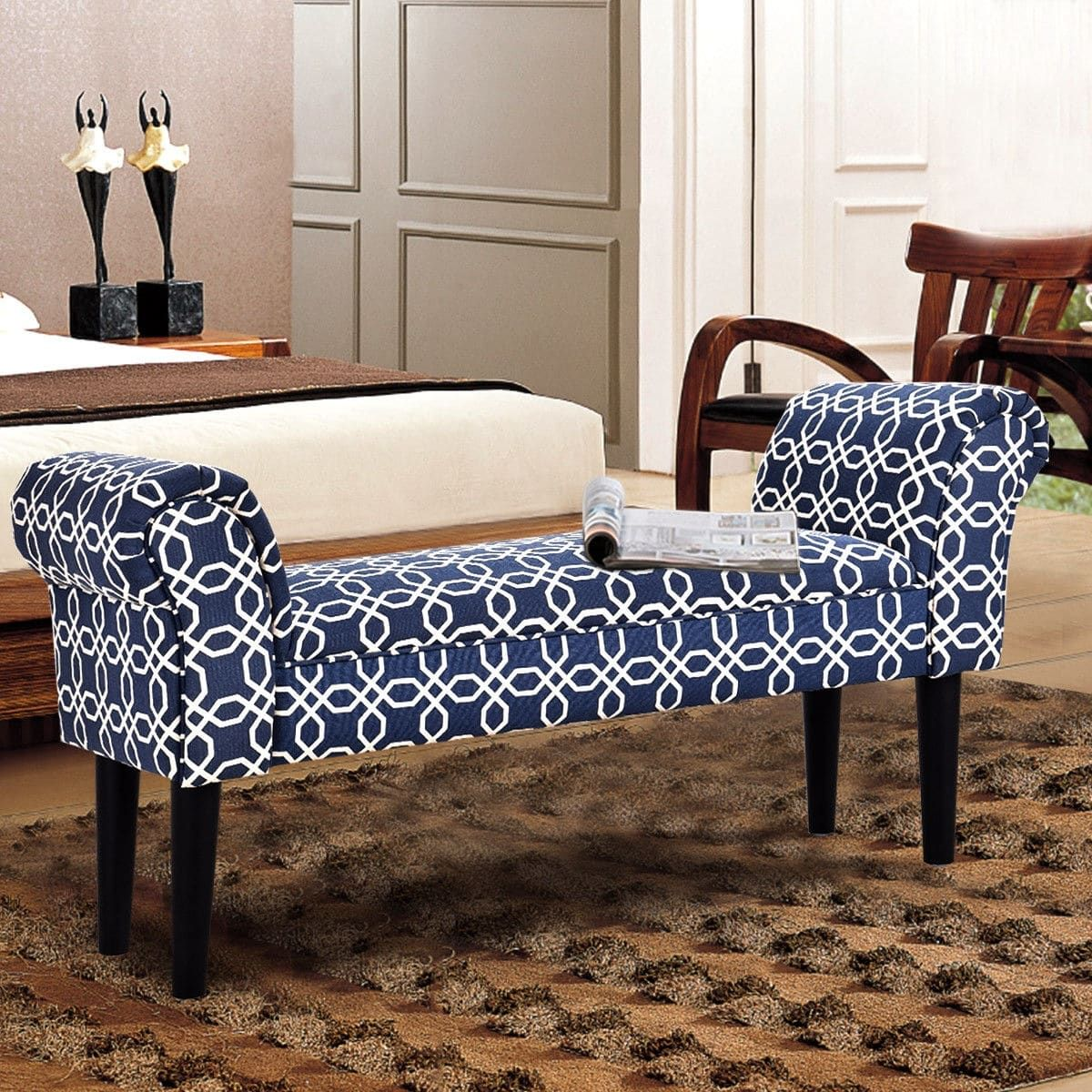 Phenomenal Costway Upholstered Armed Bed Benches For Bedroom Entryway Spiritservingveterans Wood Chair Design Ideas Spiritservingveteransorg