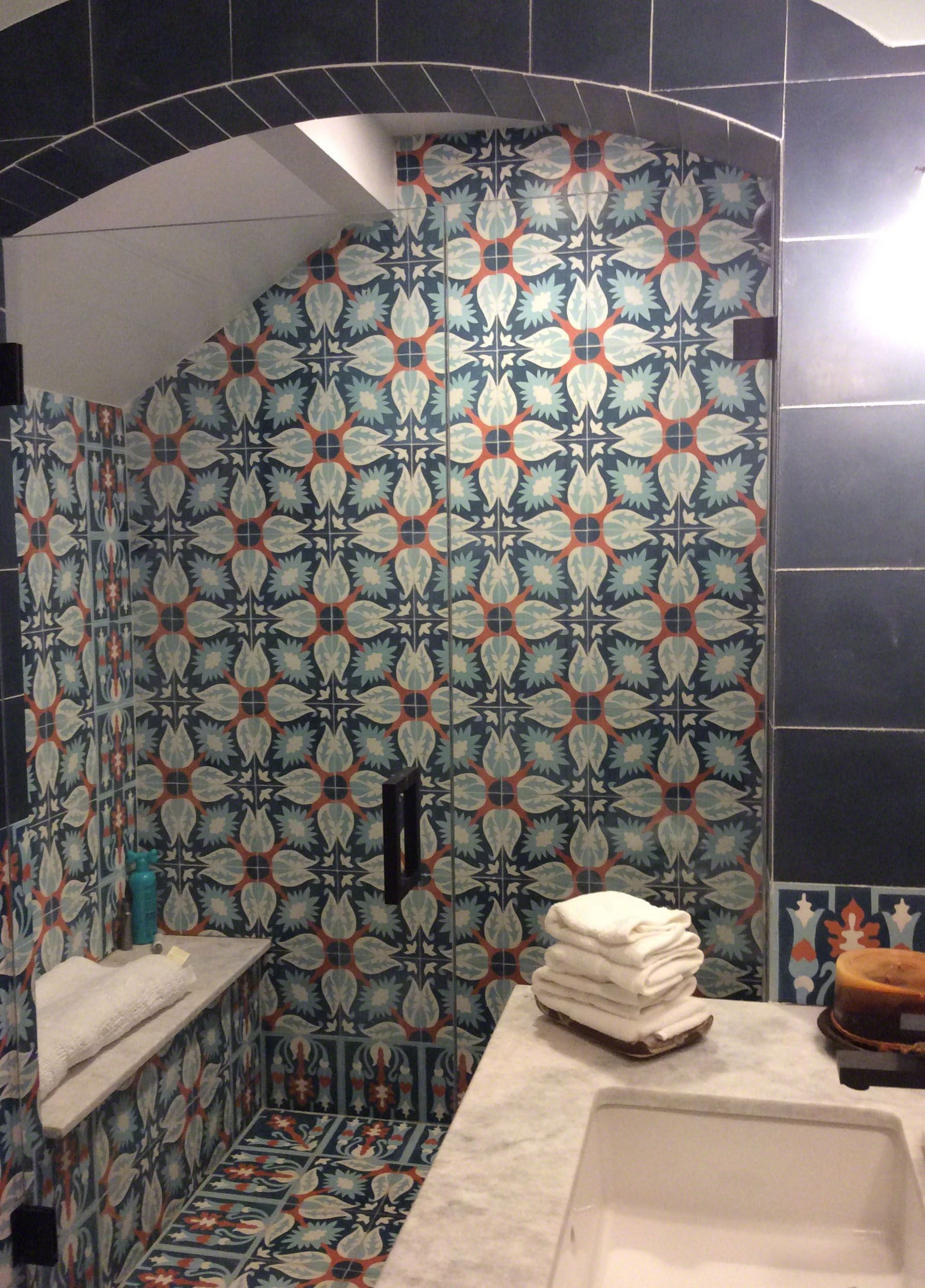- Everest Marble Bathroom Countertop And Cuban Tile Shower