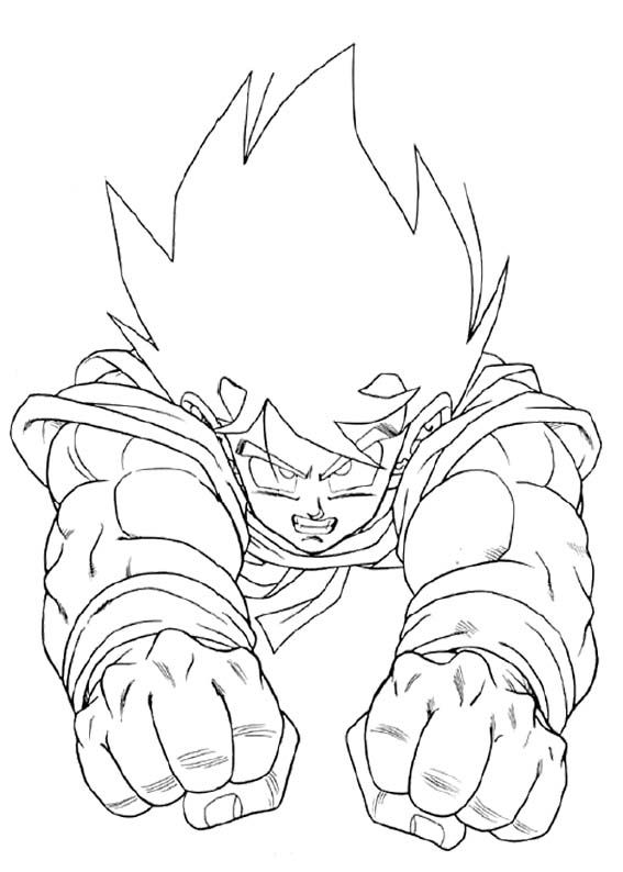 Son Goku Flying Coloring Page