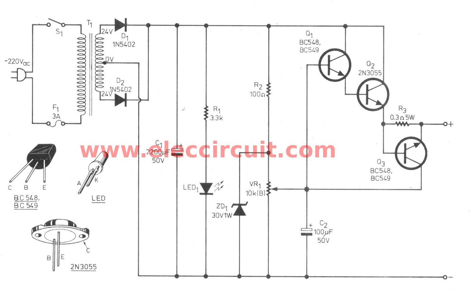 simple variable power supply circuit 0 30v 2a [ 1500 x 933 Pixel ]