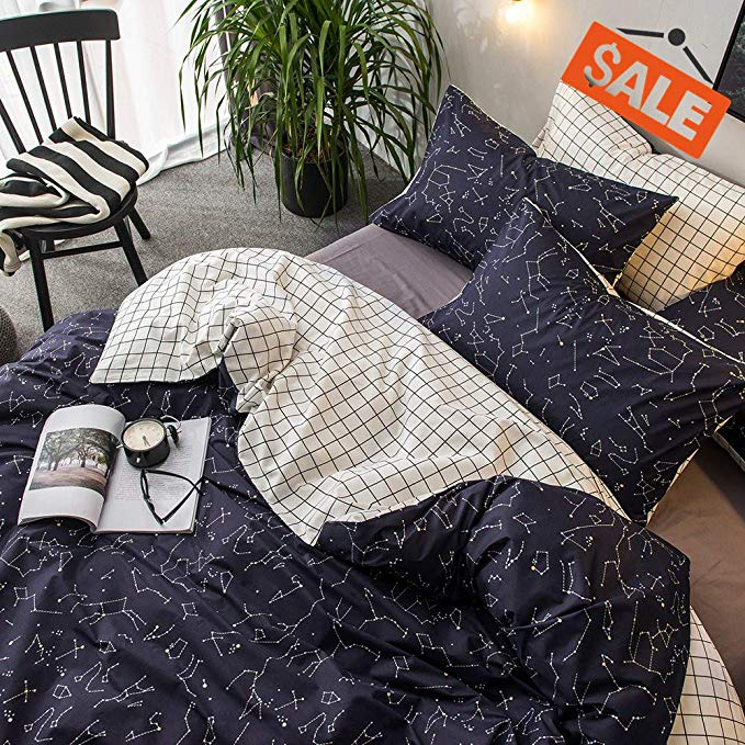 Amazon Com Vclife Cotton Bedding Sets Constellation Printed Duvet Cover Sets Twin Reversible Checkered Patter Comforter Cover Bed Quilt Cover Duvet Cover Sets
