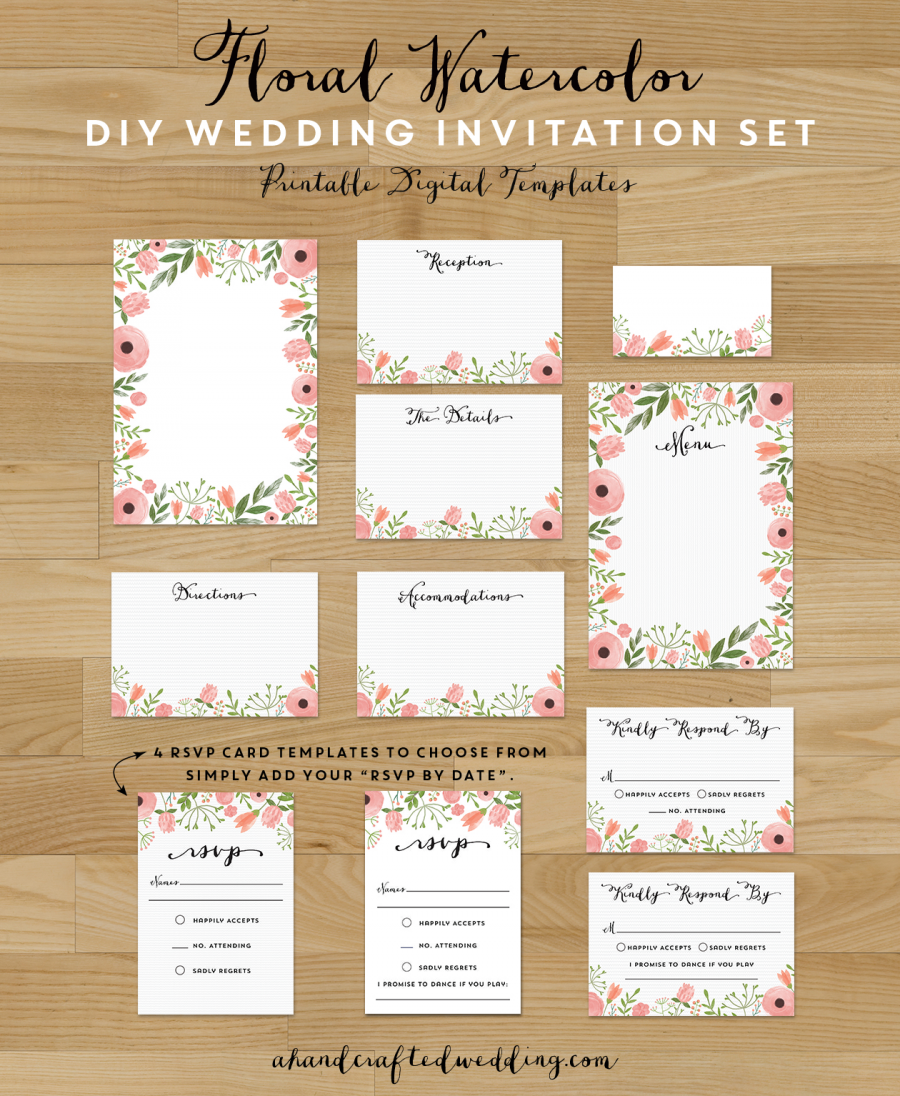 pink floral diy wedding invitation set you can customize your deets with picmonkey - Wedding Invitations Sets