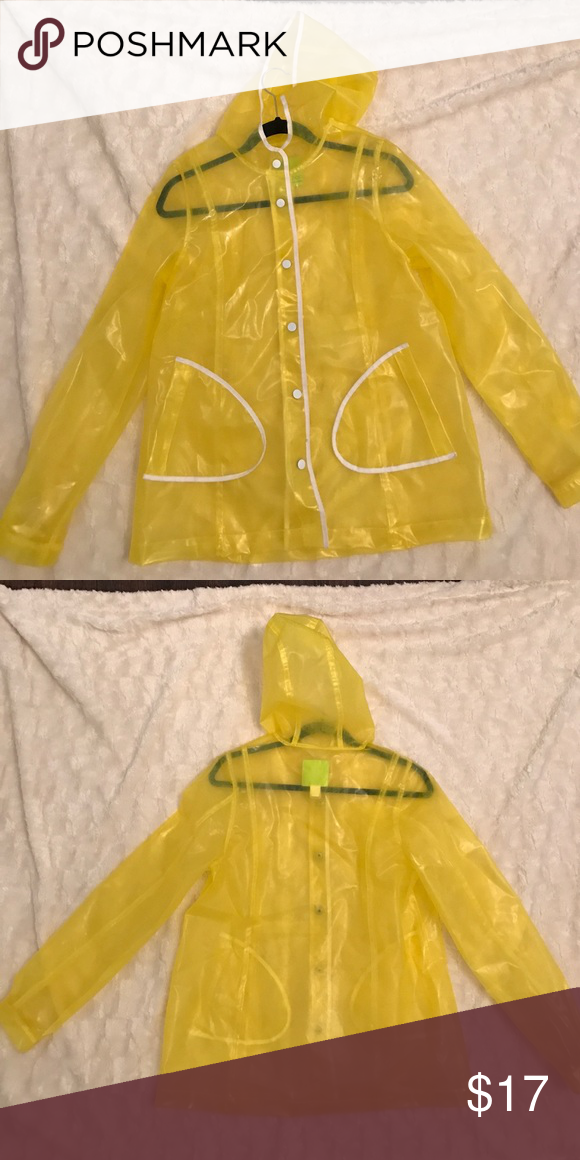 Yellow Transparent rain coat Nice rain coat. Worn a couple times I'm sure there's a better owner for it out there somewhere! Xhilaration Jackets & Coats