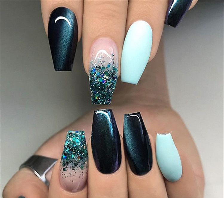 Black White Acrylic Coffin Nail Ideas Are Timeless Classics Coffin Nails Designs Teal Nails Cute Acrylic Nails