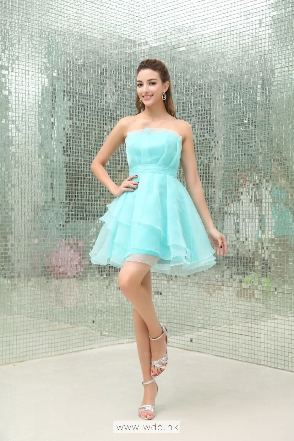 Strapless Multilayer Skirt Full A-Line Organza Bridesmaid Dress ...