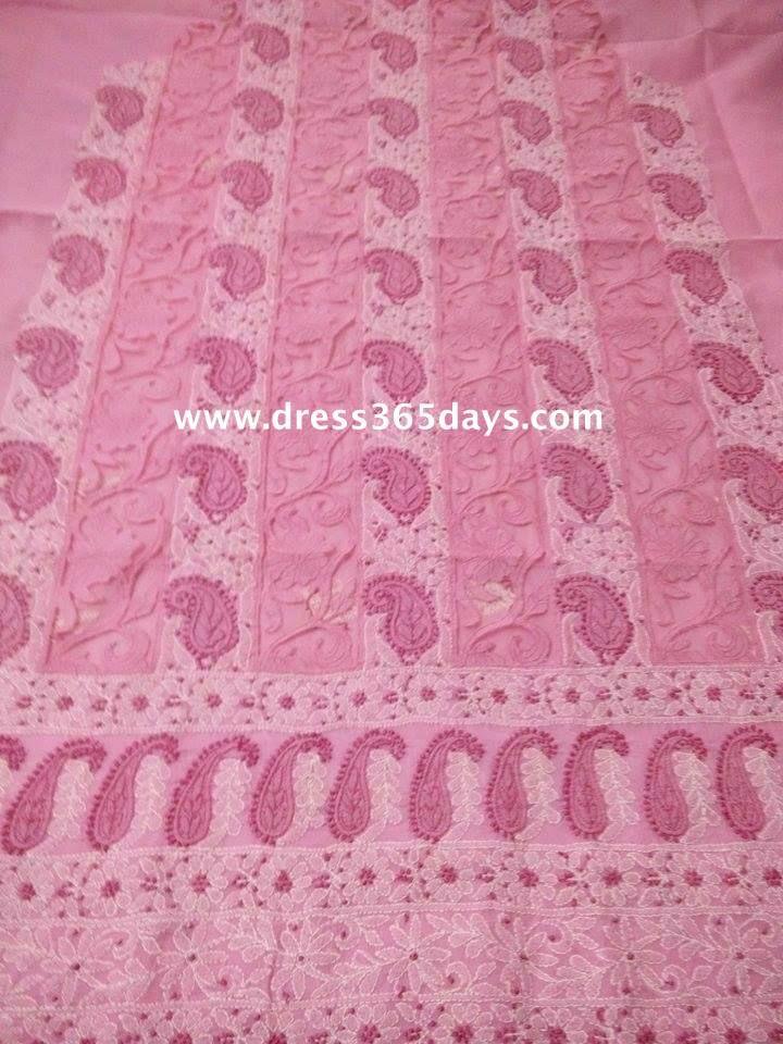 Buy Pink Kurta Fabric with Chikankari and Net panels