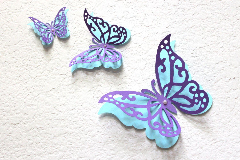 Butterfly wall decor paper wall art purple and aqua wall art nursery