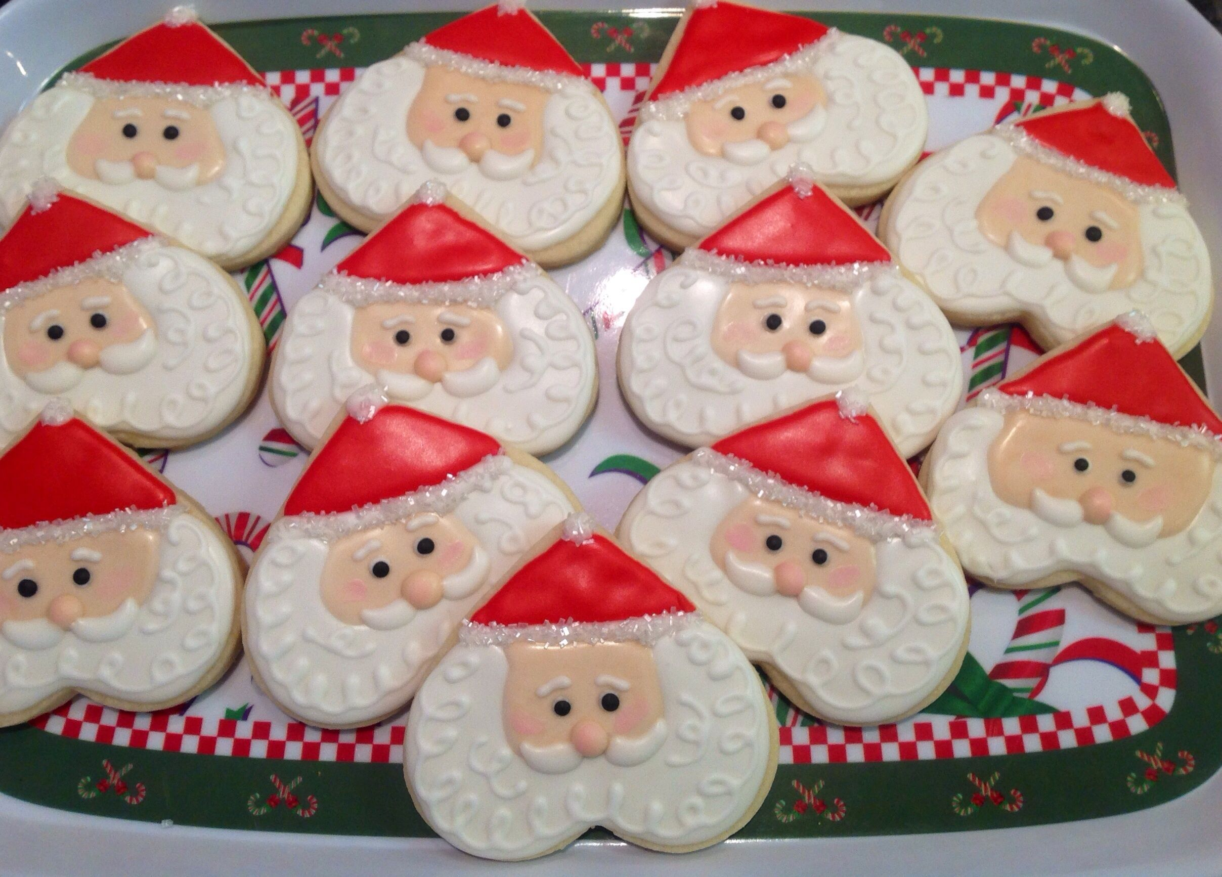 Santa Face Platter Decorated Sugar Cookies By I Am The Cookie Lady