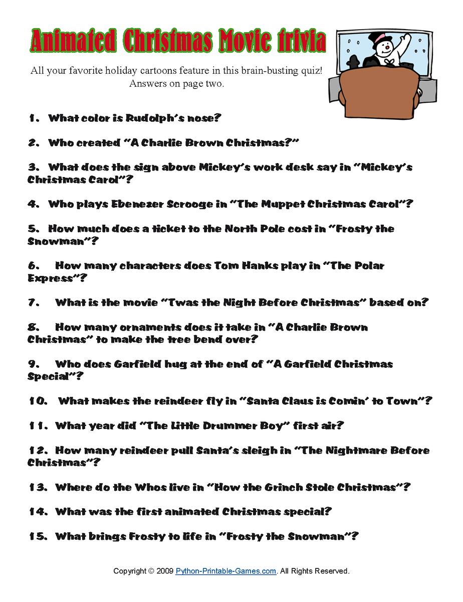 Printable Christmas Trivia Questions Answers quiz