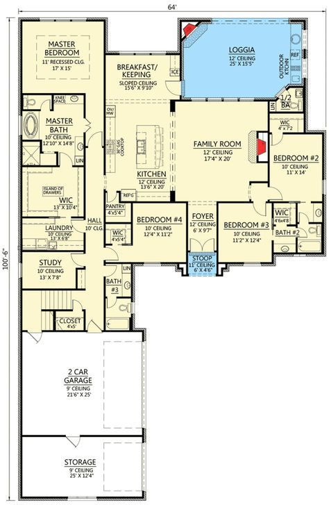 Plan 56392sm 4 Bed French Country With Loggia French Country House Plans New House Plans French Country Bedrooms