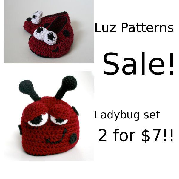 Crochet PATTERN ladybug beanie and booties set SALE 2 for 7 dollars ...