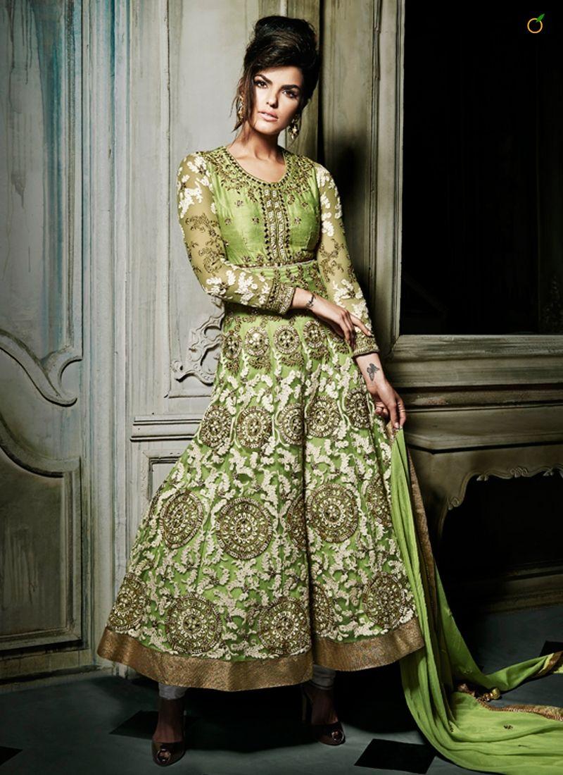 STUNNING OLIVE GREEN NET WEDDING ANARKALI SUIT CODE:-7257 PRICE ...
