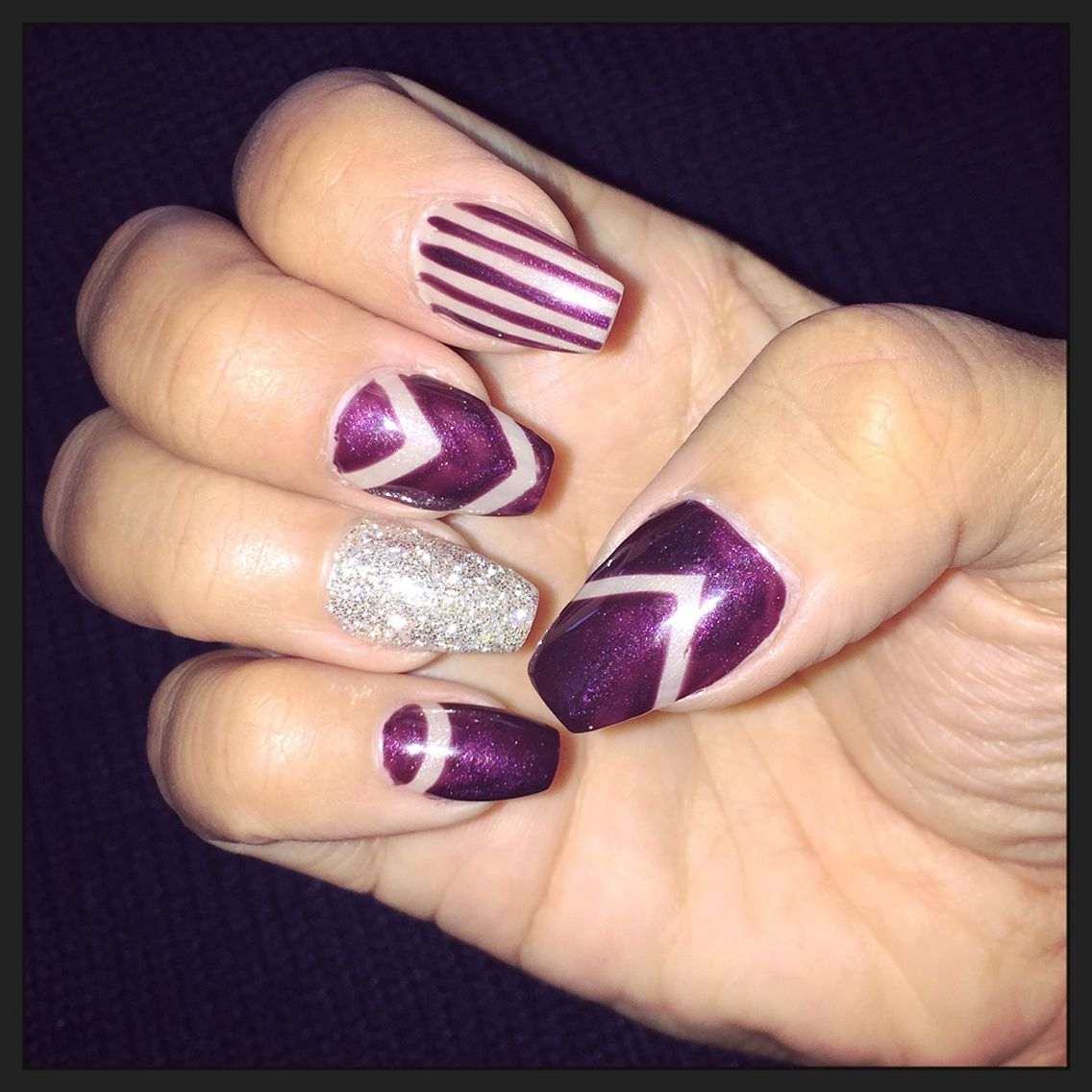 Dark fall color nails. #burgundy #nude #glitter #nailart #gellish ...